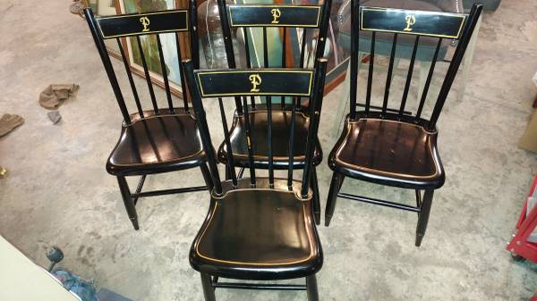 4 Antique Black Painted Plank Bottom Dining Chairs – Nice Condition