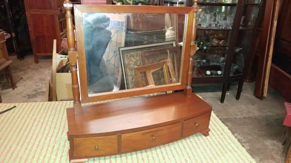 Antique Dresser Mirror – Solid Walnut – 3 Drawers – Beautiful
