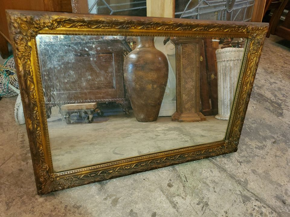 Antique Wood Frame Mirror Gold Gilded, Antique Wooden Frame Mirror